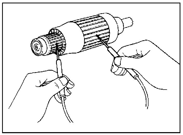 Проверка замыкания обмоток ротора стартера на корпус