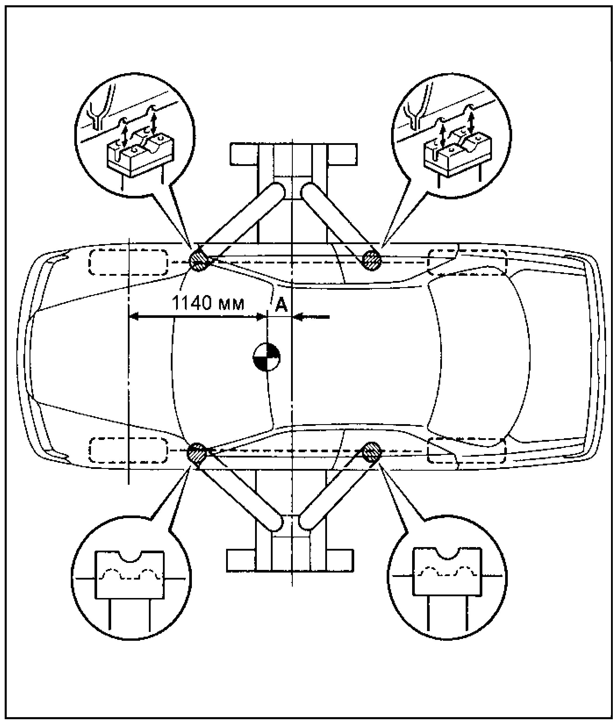 Точки установки лап подъемника